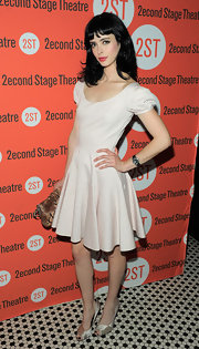 Krysten Ritter dazzled at the opening night of 'All New People' in elegant ivory satin peep-toes.