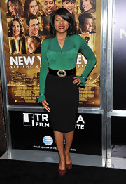Taraji P. Henson was an emerald sophisticate in a fitted blouse with ruffled sleeves at the New York premiere of 'New Year's Eve.'