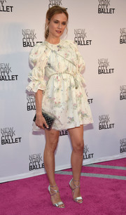 Diane Kruger paired her cute dress with strappy silver heels by Brian Atwood.