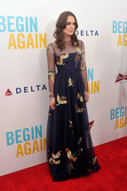 Keira Knightley looked enchanting in a bird-embroidered navy evening dress by Valentino during the premiere of 'Begin Again.'