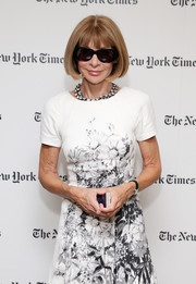Anna Wintour hid her eyes behind a pair of oval sunnies as she posed for photographers at the New York Times party.