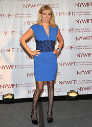 Ramona Singer arrived at the New York Women in Film & Television Awards in a blue cocktail dress with black lace detailing.