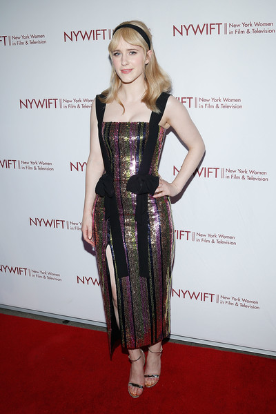 Rachel Brosnahan finished off her look with silver ankle-strap sandals.