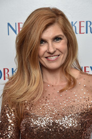 Connie Britton left her hair loose with gentle waves when she attended the New Yorker's White House Correspondents' Association Dinner pre-party.