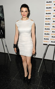 Rachel Weisz showed off her curves in this figure-hugging white frock with shoulder cutouts.