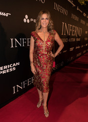 Rita Wilson kept it timeless in a red and gold jacquard cocktail dress by Prada at the world premiere of 'Inferno.'