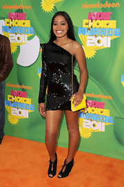 Keke sparkled in a black sequined one-shoulder cocktail dress at the Kids' Choice Awards.