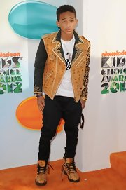 Jaden Smith looked too cool in this two-tone studded leather jacket at the Kids' Choice Awards.