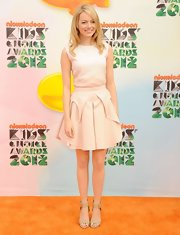 Emma Stone wore this fitted cream blouse with her matching box pleat skirt at Kids' Choice Awards.