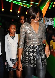 Michelle Obama sparkled in a super-chic sequined top at the Kids' Choice Awards.