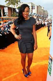 Tanya Chisholm chose to wear this structured iridescent LBD to the Kids' Choice Awards.