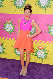 Keltie Colleen chose the fun and bright, color-blocked cutout dress for her look at the Kids' Choice Awards.