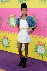 Willow Smith added this cropped denim jacket to give her look just a touch of the rock star edge that the young singer loves.