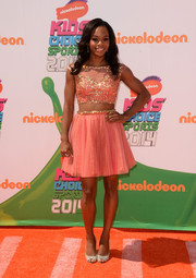 Gabrielle Douglas completed her ensemble with a pair of bedazzled peep-toes.