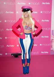 An electric pink blazer infused Nicki's look with a serious color shock.