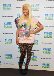 Nicki Minaj looked zany in these leopard leggings for her visit to Z100 Studio.