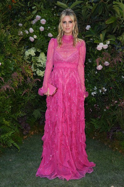 Nicky Hilton Box Clutch [clothing,pink,dress,gown,lady,formal wear,fashion,magenta,day dress,long hair,valentino,valentino haute couture fall winter 2018,nicky hilton,front row,part,paris,france,paris fashion week,show]
