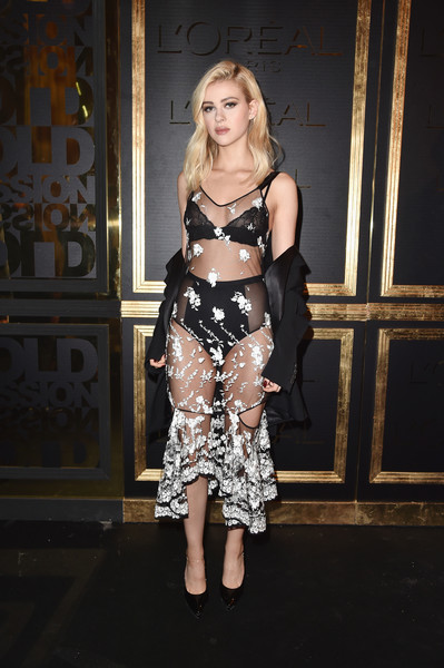 Nicola Peltz Sheer Dress [fashion model,beauty,lady,fashion,shoulder,leg,girl,catwalk,flooring,model,nicola peltz,photocall - paris fashion week womenswear spring,part,paris,france,loreal,obsession party,gold obsession party]