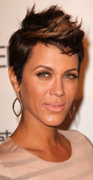 Nicole Ari Parker Fauxhawk [nicole ari parker,essence black women in hollywood luncheon,fourth annual essence black women in hollywood luncheon,hair,face,eyebrow,hairstyle,chin,forehead,lip,beauty,skin,nose,beverly hills hotel,california]