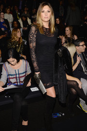 Daisy Fuentes looked subtly sexy in a sheer lace LBD during the Nicole Miller fashion show.