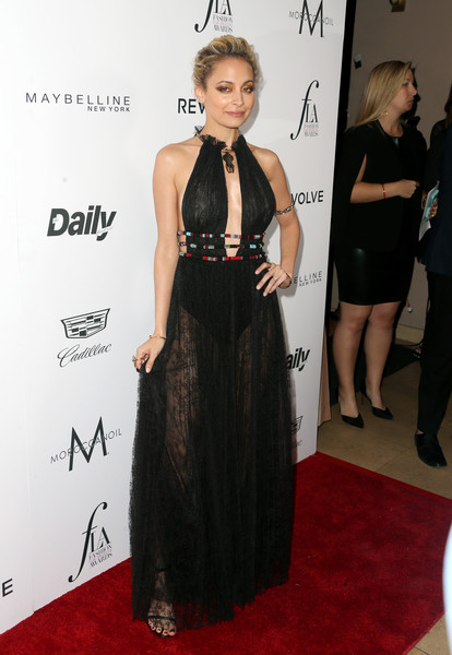 Nicole Richie Sheer Dress [little black dress,flooring,dress,fashion model,formal wear,shoulder,fashion,gown,carpet,cocktail dress,arrivals,nicole richie,west hollywood,california,sunset tower hotel,daily front row,fashion los angeles awards]