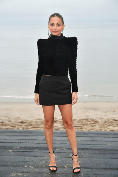 Nicole Richie Strappy Sandals [clothing,black,fashion,fashion model,fashion show,shoulder,neck,little black dress,runway,dress,nicole richie,call,malibu,california,saint laurent mens spring summer 20 show]