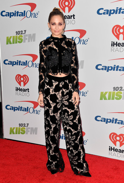 Nicole Richie Wide Leg Pants [jingle ball 2017,red carpet,clothing,carpet,fashion,flooring,footwear,premiere,fashion design,style,arrivals,nicole richie,inglewood,california,kiis fm,capital one,the forum]