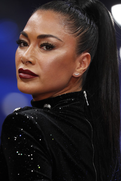 Nicole Scherzinger Diamond Studs [hair,eyebrow,hairstyle,beauty,black hair,chin,lip,fashion,forehead,ear,nicole scherzinger,make-up,new york,runway,postbahnhof,berlin,germany,maybelline new york,berlin fashion week,show]