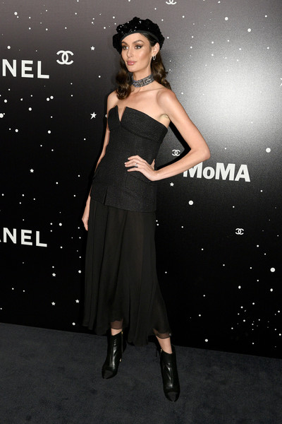 Nicole Trunfio Tube Top [museum of modern art film benefit presented by chanel: a tribute to,the museum of modern art film benefit presented by chanel: a tribute to martin scorsese,dress,clothing,cocktail dress,shoulder,fashion,fashion model,little black dress,strapless dress,premiere,footwear,arrivals,martin scorsese,nicole trunfio,chanel fw,new york city]