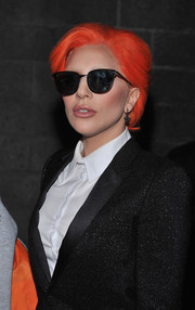 Lady Gaga looked perfectly cool with her short orange hair at the Nicopanda presentation.