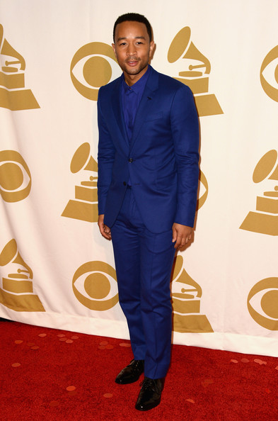 John Legend made monochromatic look so stylish with this all-blue suit and button-down combo at the 'Night That Changed America' show.
