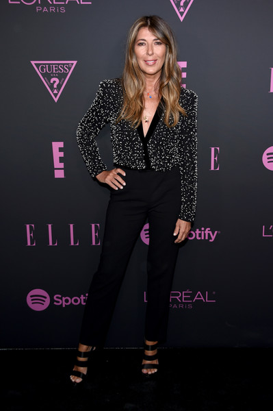 Nina Garcia looked sharp in a black jumpsuit with an embellished bodice at the Elle Women in Music event.