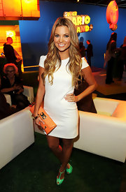 Amber Lancaster went white hot with neon accessories at the Nintendo launch in Hollywood.