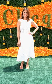 Jamie-Lynn Sigler opted for a simple white day dress when she attended the Veuve Clicquot Polo Classic.