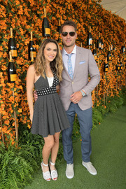 Chrishell Stause kept it fun in a polka-dot halter mini dress at the 2018 Veuve Clicquot Polo Classic Los Angeles.