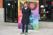 Pablo Larrain looked classy and sophisticated in a long pea coat at the 'No' Madrid screening.