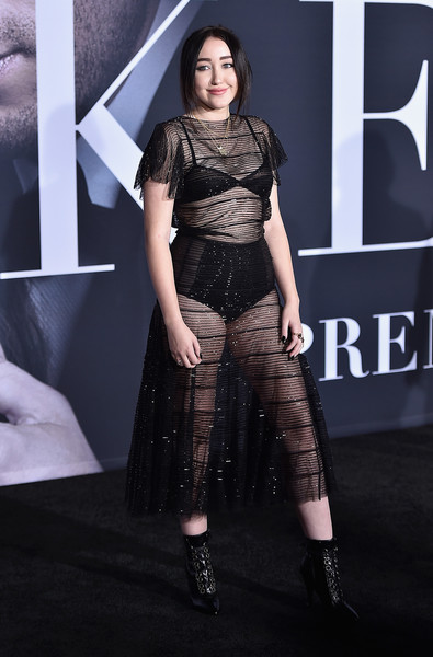 Noah Cyrus Lace Up Boots [fifty shades darker,fashion model,clothing,fashion,fashion show,haute couture,dress,shoulder,fashion design,premiere,event,arrivals,noah cyrus,actress,singer,fashion,los angeles,universal pictures,premiere,premiere,noah cyrus,fifty shades darker,nc-17,los angeles,2017,mtv video music awards,red carpet,miley cyrus,dakota johnson]