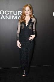 Ellie Bamber made a seductive choice with this lacy, sheer-bodice gown by Tom Ford for the New York premiere of 'Nocturnal Animals.'