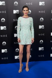 Jennifer Connelly looked svelte and elegant in a leaf-embroidered mint-green cocktail dress by Giambattista Valli Couture during the 'Noah' Madrid premiere.