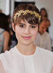 Sami Gayle attended the Nonoo fashion show looking like a nymph with her gold leaf headband.