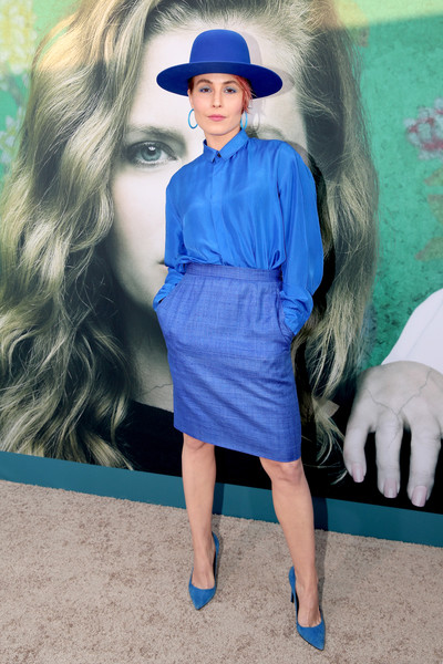 Noomi Rapace Pencil Skirt [sharp objects,blue,hair,cobalt blue,clothing,electric blue,fashion,street fashion,hairstyle,turquoise,footwear,arrivals,noomi rapace,california,los angeles,the cinerama dome,hbo,premiere,premiere]
