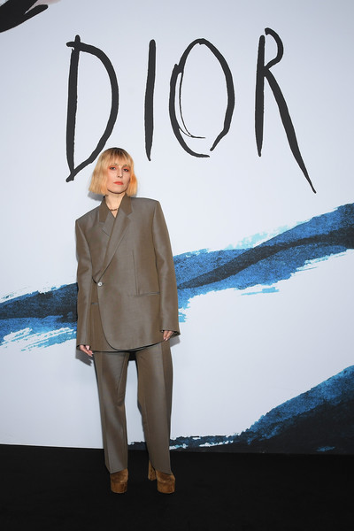 Noomi Rapace Pantsuit [blue,fashion,design,suit,outerwear,fashion design,formal wear,blazer,pattern,art,dior homme,noomi rapace,part,paris,france,dior homme menswear fall,photocall - paris fashion week,show,paris fashion week]