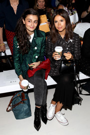 Miroslava Duma donned a cute and chic dragonfly-print pea coat for the Noon by Noor fashion show.