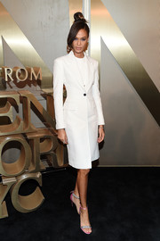 Joan Smalls kept it simple yet sharp in a fitted white coat at the Nordstrom Men's NYC store opening.