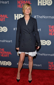 Julia Roberts paired a double-breasted Dior blazer with a flirty-hem dress for the premiere of 'The Normal Heart.'