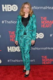 Anna Chlumsky rocked a swirly-print blue pantsuit at the premiere of 'The Normal Heart.'