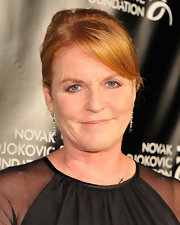 Sarah Ferguson had her locks tied up in a classic bun at the Novak Djokovic event.