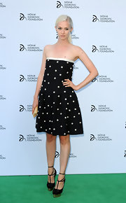 Portia Freeman sported a strapless polka dot dress at the Novak Djokovic Foundation dinner in London.