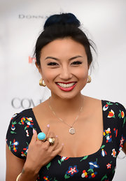 Jeannie Mai finished off her adorable ensemble with a pair of oversized statement rings.