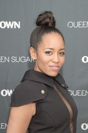 Dawn-Lyen Gardner fixed her locks into a tight top knot for the private screening of 'Queen Sugar' in New York.